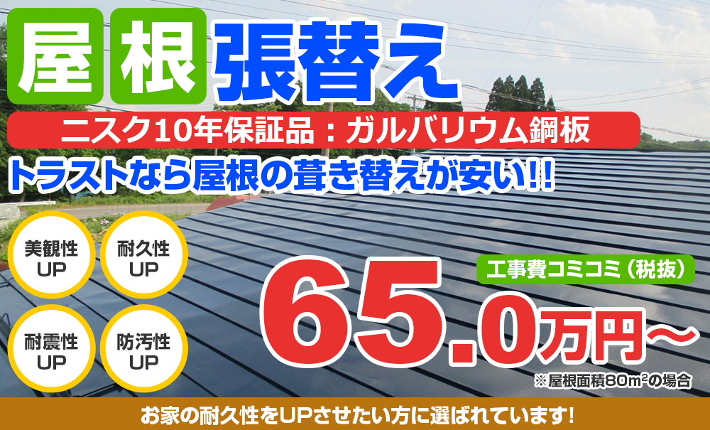 屋根張替え  耐用年数10年ガルバリウム鋼板使用 葺き替えが安い!! 65万円