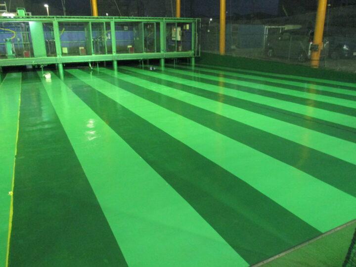 長野市 【バッティングセンター】床塗装工事