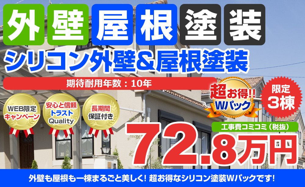 シリコン外壁&屋根塗装Wパック塗装 72.8万円