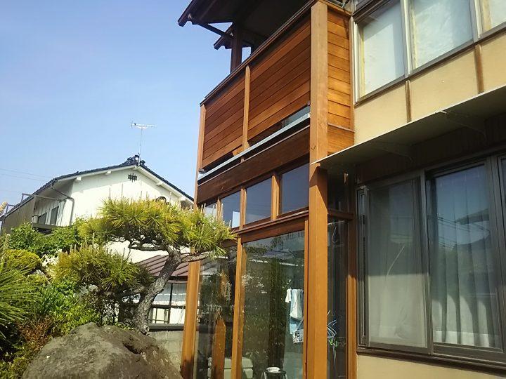長野市T様 木部(玄関扉・ベランダ)塗装工事