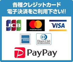 各種クレジットカード・電子決済をご利用下さい!